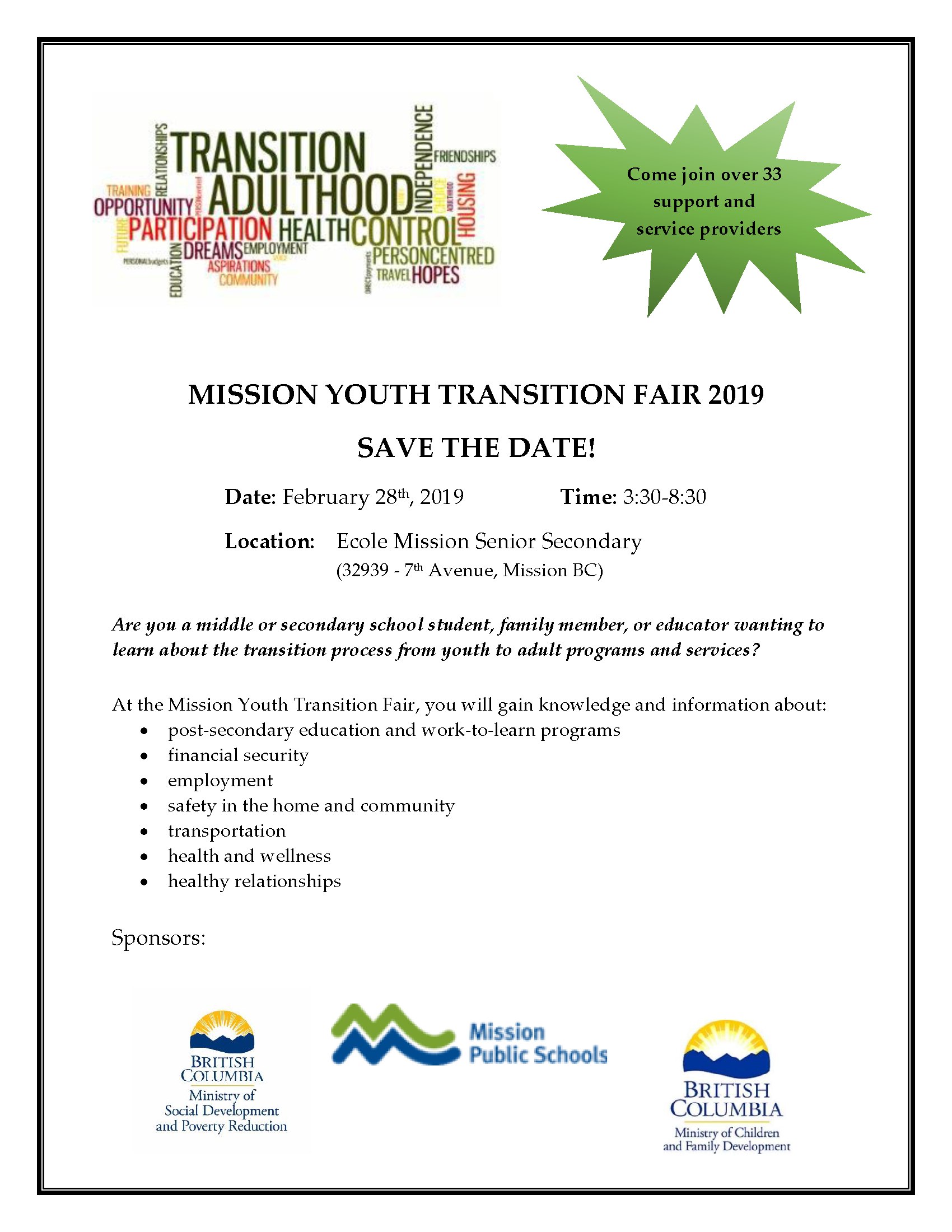 Transtion Fair Save the date MISSION Dec 10